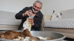 Erken doğan buzağıyı şırıngayla süt vererek evinde besliyor