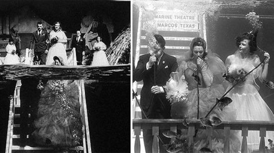 1950'lerde sualtında kıyılmış nikahtan 8 resim