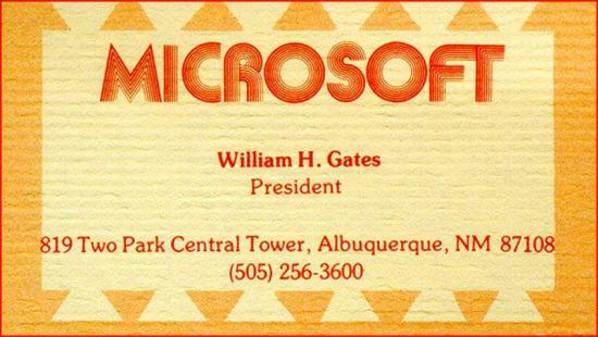 Bill Gates'in şirket için bastırdığı ilk kartvizit. 1975