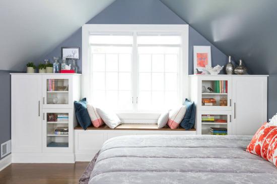 Genç odaları için güzel bir pencere kenarı tasarımı