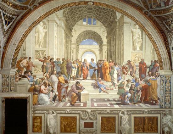 Tarihle bütünleşmiş bir eser Atina Okulu, Raffaello