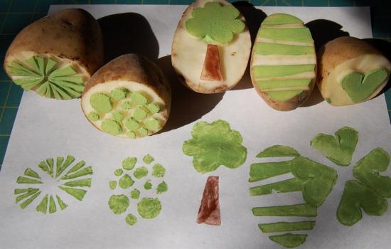 Resim derslerimizin starı patates baskı
