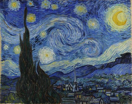 Sanatla bütünleşmiş bir eser, Yıldızlı Gece, V. Van Gogh, 1889