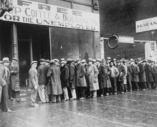 İşsizler için ücretsiz çorba, kahve ve çörek, Chicago, 1930