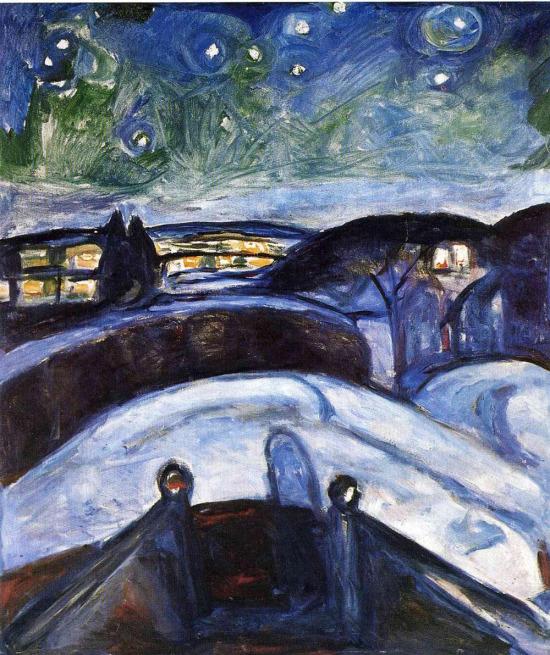 Bir Van Gogh esinlenmesi, Yıldızlı Gece, Edvard Munch, 1893