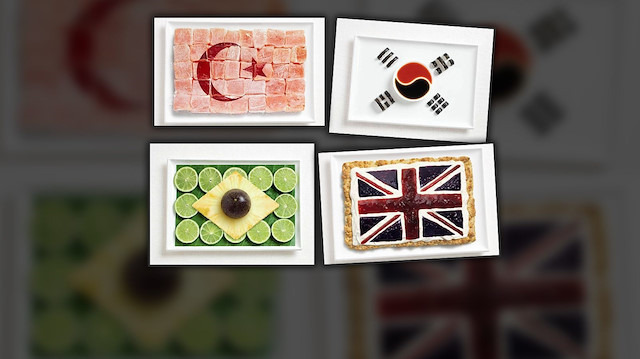 Ülkelerin yöresel yemeklerinden yapılan bayrak tasarımları