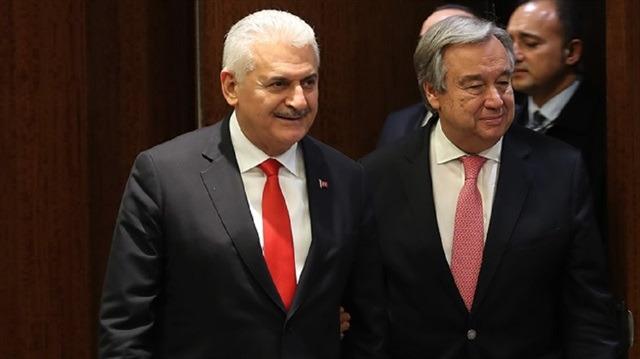 Başbakan Yıldırım, BM Genel Sekreteri Guterres ile bir araya geldi