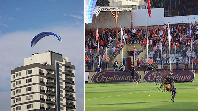Adana derbisinde film sahnelerini aratmayan anlar: Sahaya paraşütle indi!