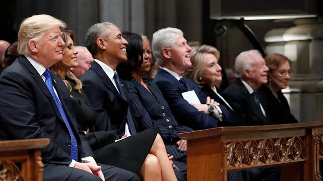 Baba Bush'un cenazesinde Trump ve Clinton arasında soğuk rüzgarlar
