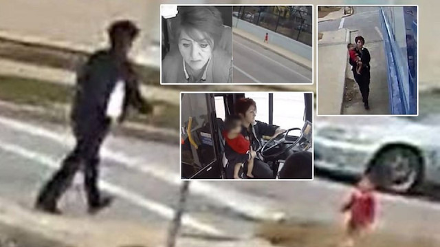 Yol kenarında koşan bebeğin imdadına kadın otobüs sürücüsü yetişti