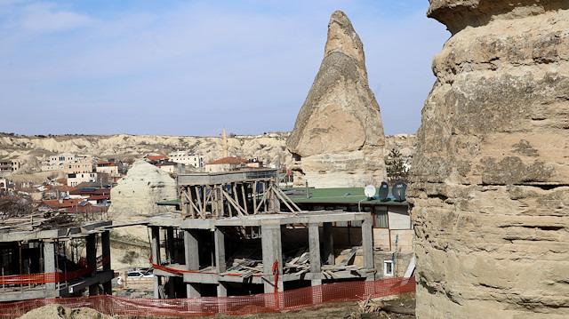Tartışmalara neden olmuştu: Göreme'deki otel inşaatının yıkımına başlandı
