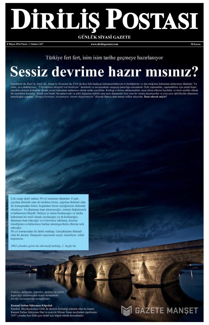 DİRİLİŞ POSTASI Gazetesi 8 Mayıs 2016, Pazar Günü Manşeti