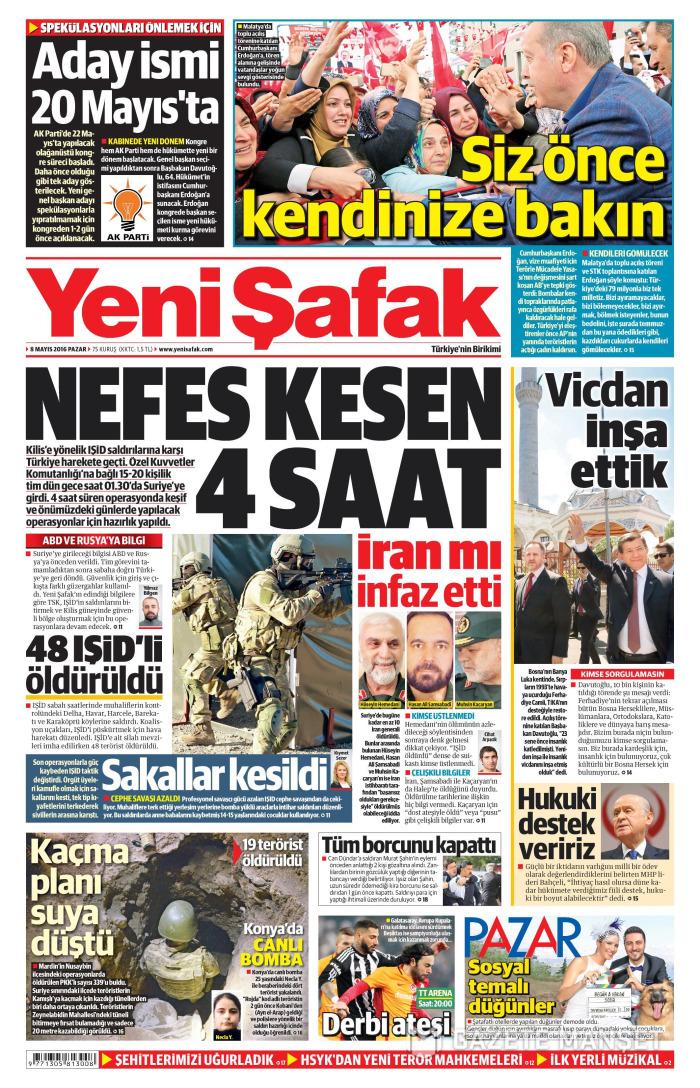 YENİ ŞAFAK Gazetesi 8 Mayıs 2016, Pazar Günü Manşeti