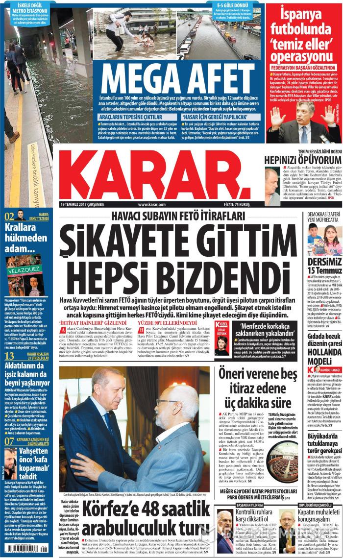KARAR Gazetesi 19 Temmuz 2017, Çarşamba Günü Manşeti