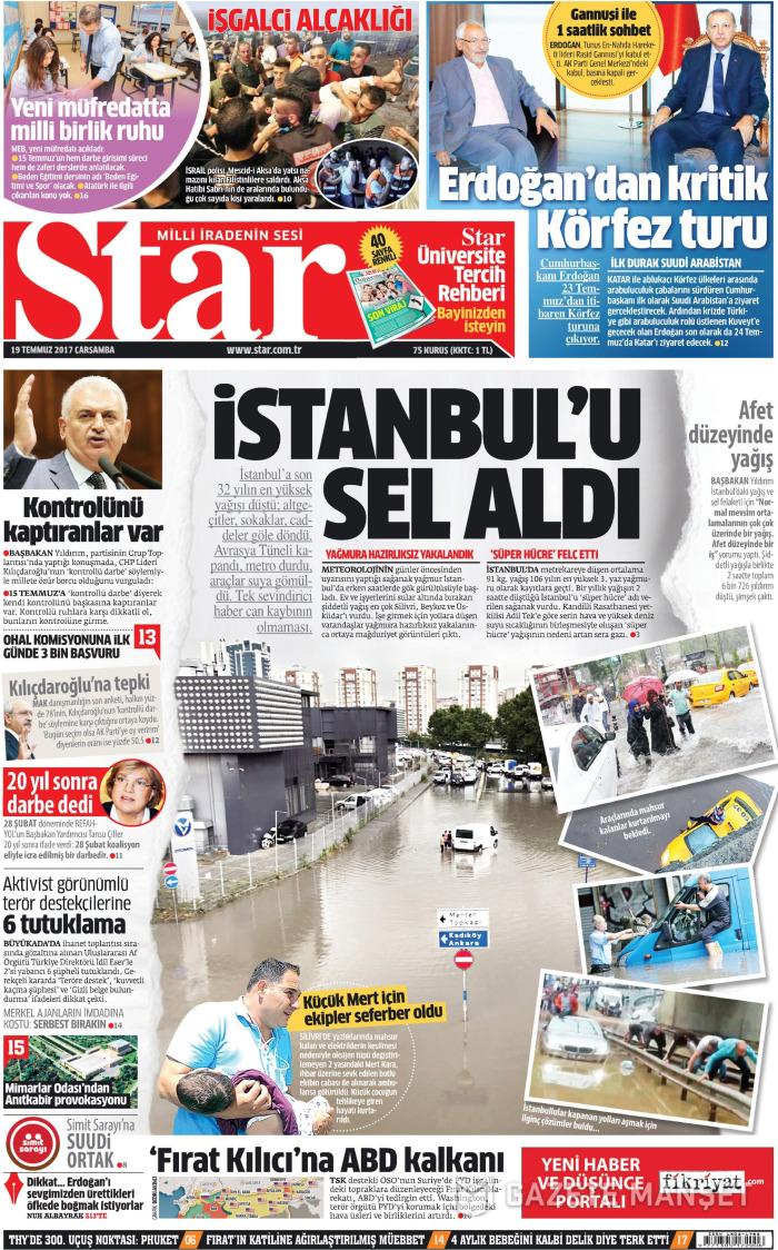 STAR Gazetesi 19 Temmuz 2017, Çarşamba Günü Manşeti