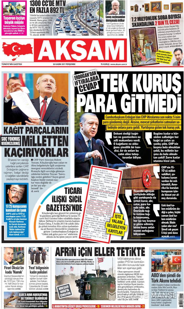AKŞAM Gazetesi 30 Kasım 2017, Perşembe Günü Manşeti