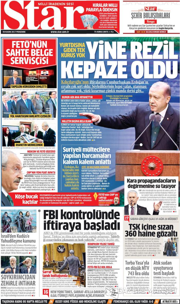 STAR Gazetesi 30 Kasım 2017, Perşembe Günü Manşeti