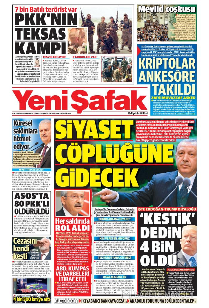 YENİ ŞAFAK Gazetesi 30 Kasım 2017, Perşembe Günü Manşeti