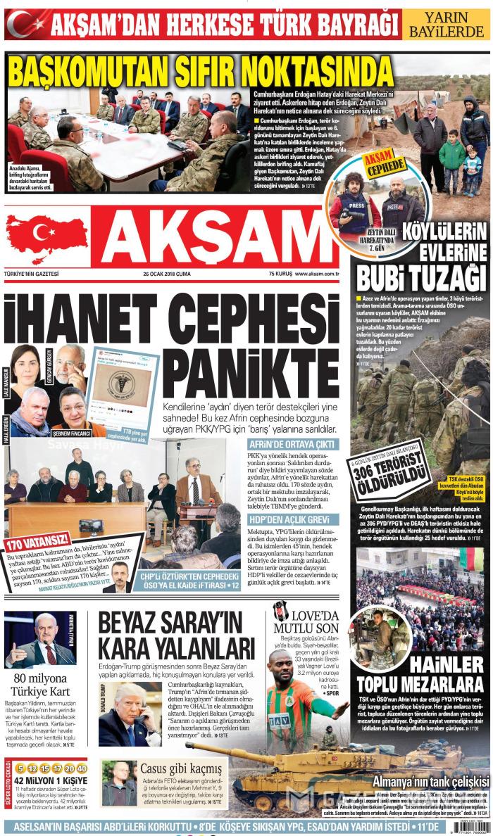AKŞAM Gazetesi 26 Ocak 2018, Cuma Günü Manşeti