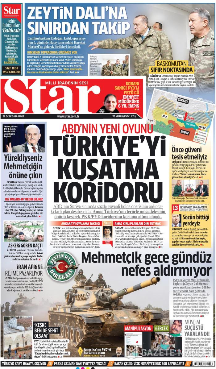 STAR Gazetesi 26 Ocak 2018, Cuma Günü Manşeti