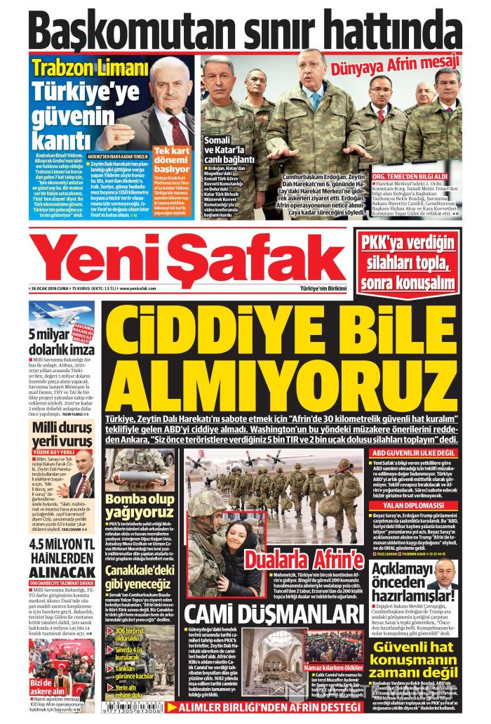 YENİ ŞAFAK Gazetesi 26 Ocak 2018, Cuma Günü Manşeti