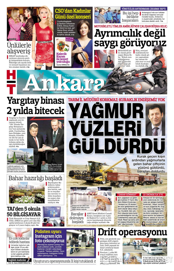 HABERTÜRK ANKARA Gazetesi 7 Mart 2018, Çarşamba Günü Manşeti