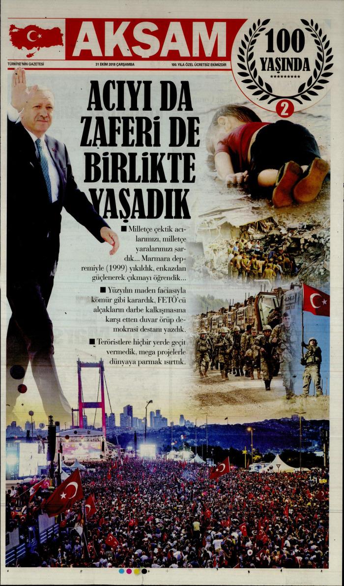 aksamek1 Gazetesi 31 Ekim 2018, Çarşamba Günü Manşeti