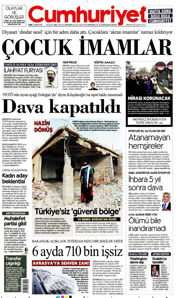 CUMHURİYET Gazetesi 1 Şubat 2019, Cuma Günü Manşeti