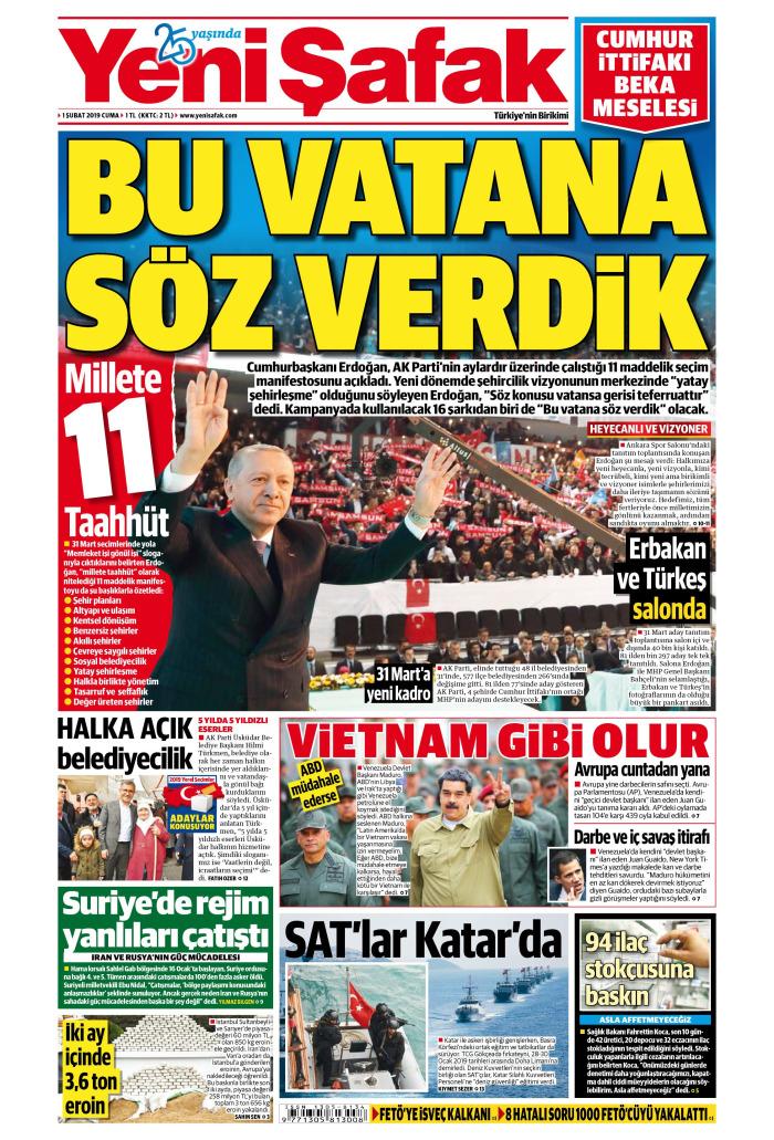 YENİ ŞAFAK Gazetesi 1 Şubat 2019, Cuma Günü Manşeti
