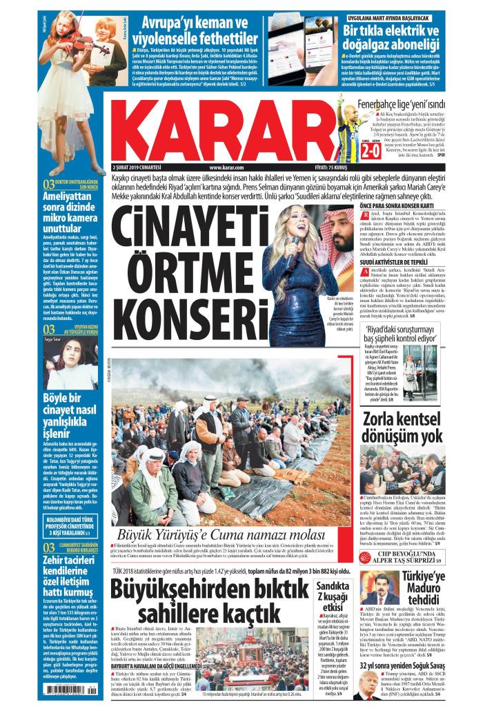 KARAR Gazetesi 2 Şubat 2019, Cumartesi Günü Manşeti