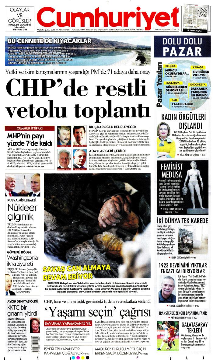 CUMHURİYET Gazetesi 3 Şubat 2019, Pazar Günü Manşeti