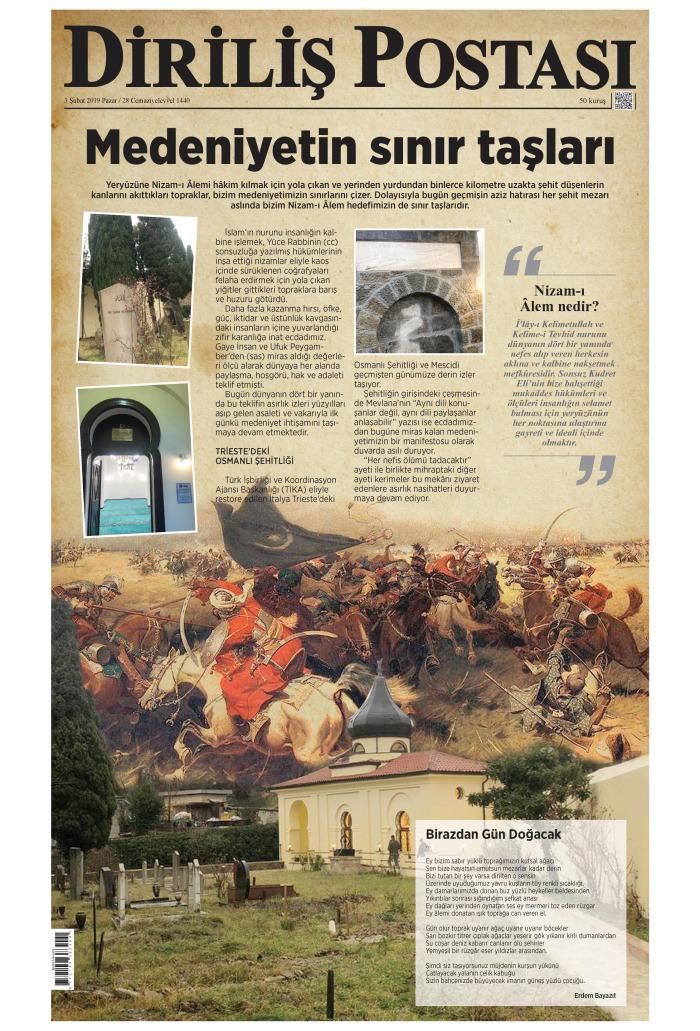 DİRİLİŞ POSTASI Gazetesi 3 Şubat 2019, Pazar Günü Manşeti
