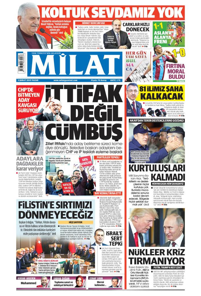 MİLAT Gazetesi 3 Şubat 2019, Pazar Günü Manşeti