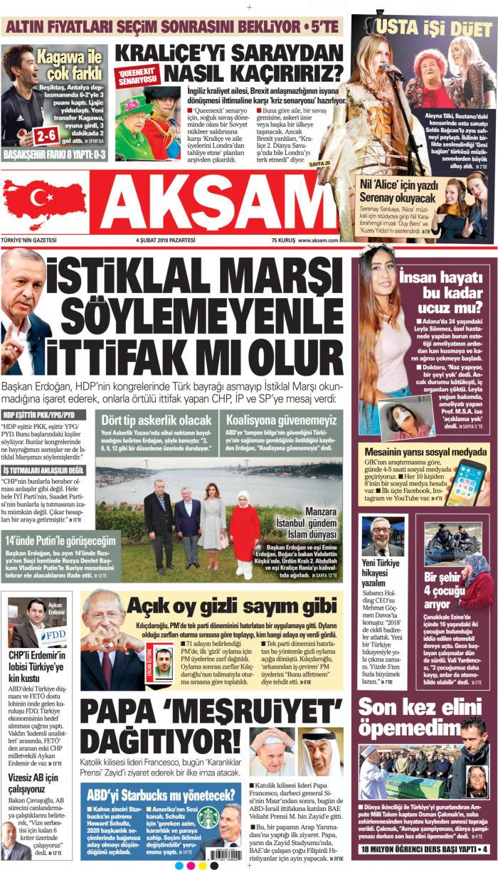 AKŞAM Gazetesi 4 Şubat 2019, Pazartesi Günü Manşeti