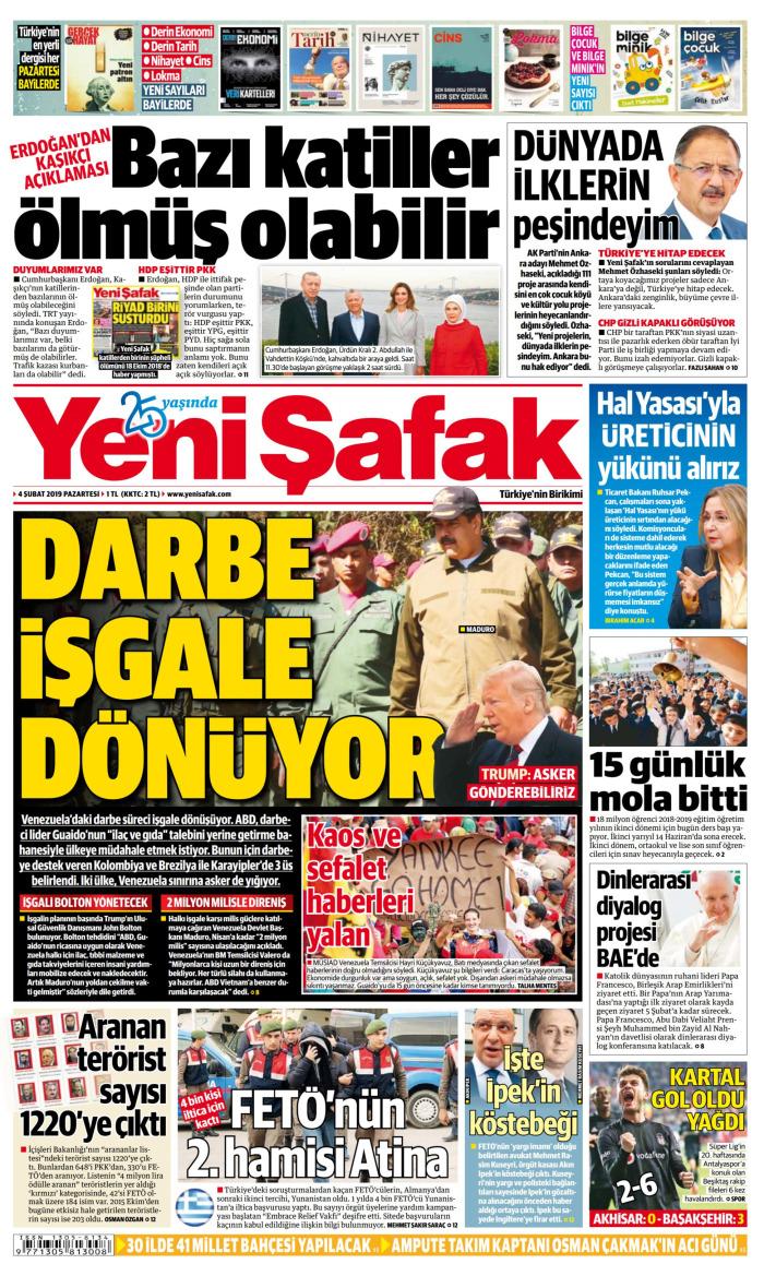 YENİ ŞAFAK Gazetesi 4 Şubat 2019, Pazartesi Günü Manşeti