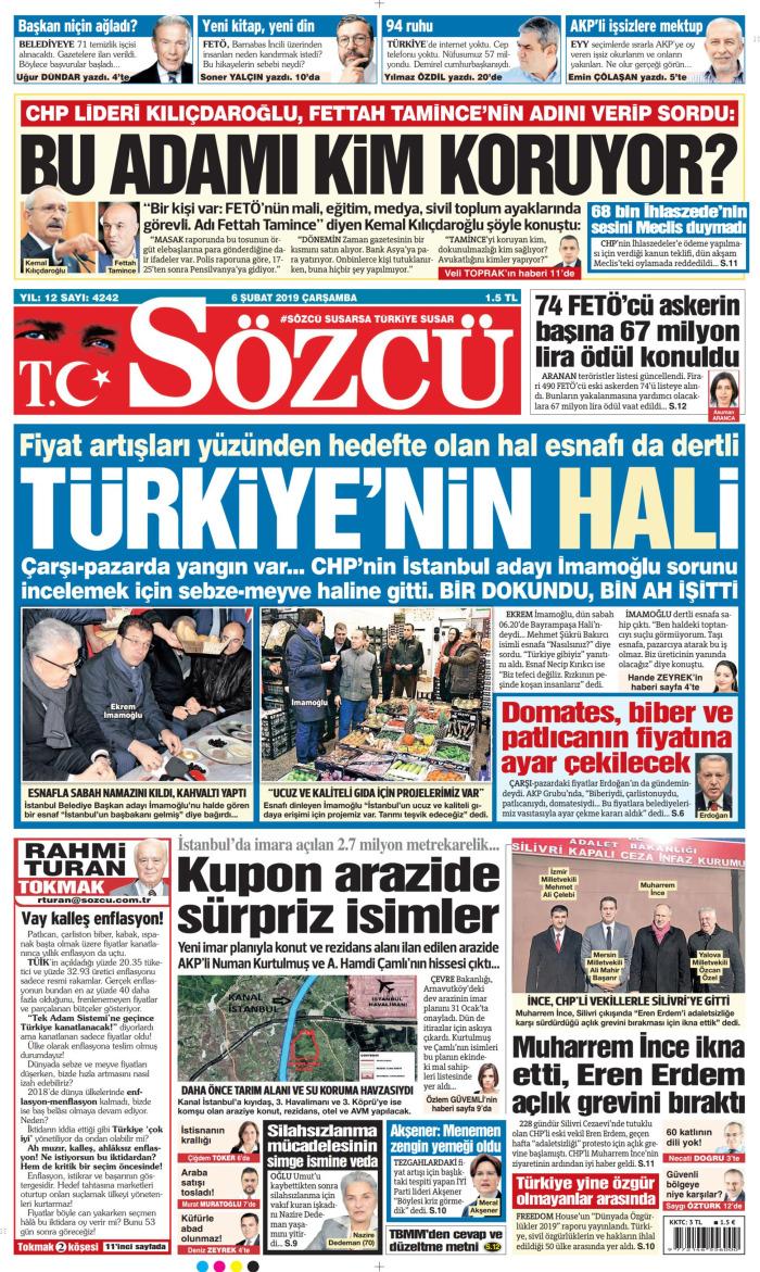 SÖZCÜ Gazetesi 6 Şubat 2019, Çarşamba Günü Manşeti