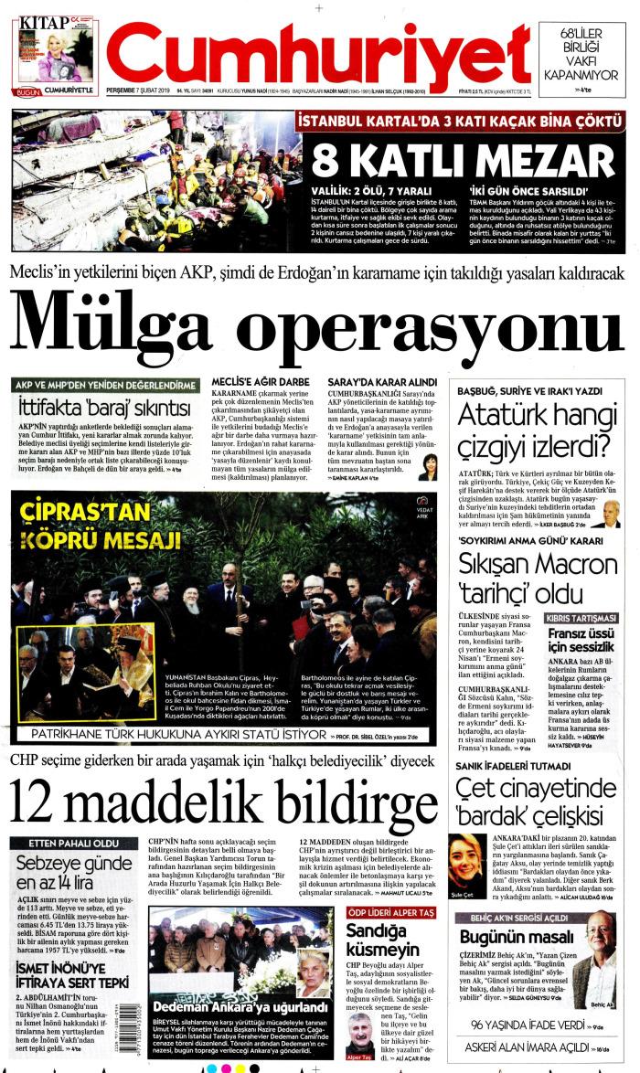 CUMHURİYET Gazetesi 7 Şubat 2019, Perşembe Günü Manşeti