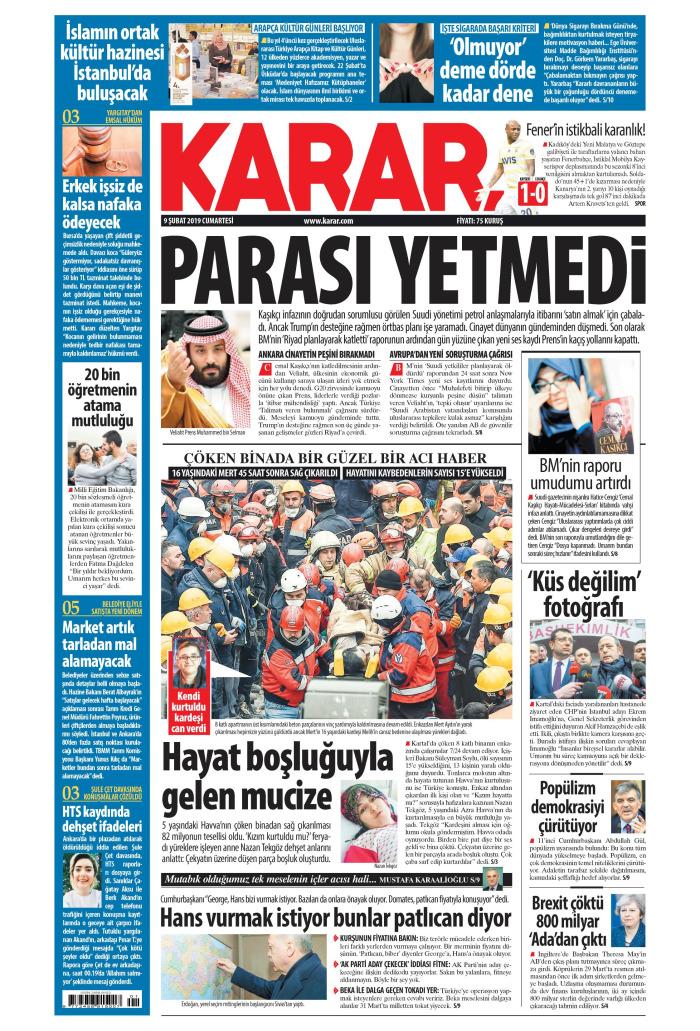 KARAR Gazetesi 9 Şubat 2019, Cumartesi Günü Manşeti