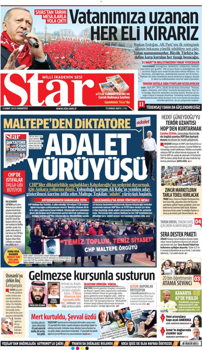 STAR Gazetesi 9 Şubat 2019, Cumartesi Günü Manşeti