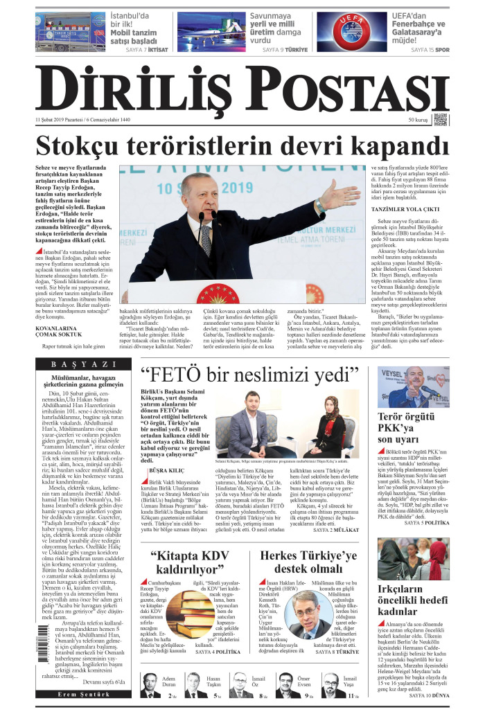 DİRİLİŞ POSTASI Gazetesi 11 Şubat 2019, Pazartesi Günü Manşeti