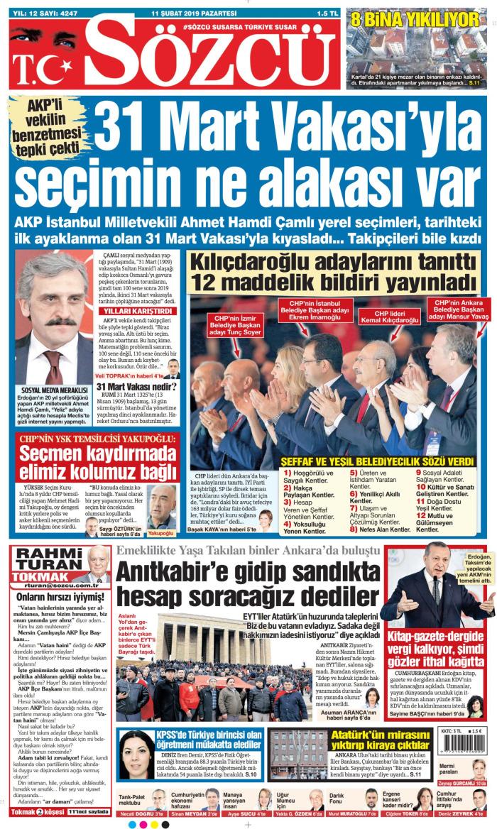 SÖZCÜ Gazetesi 11 Şubat 2019, Pazartesi Günü Manşeti