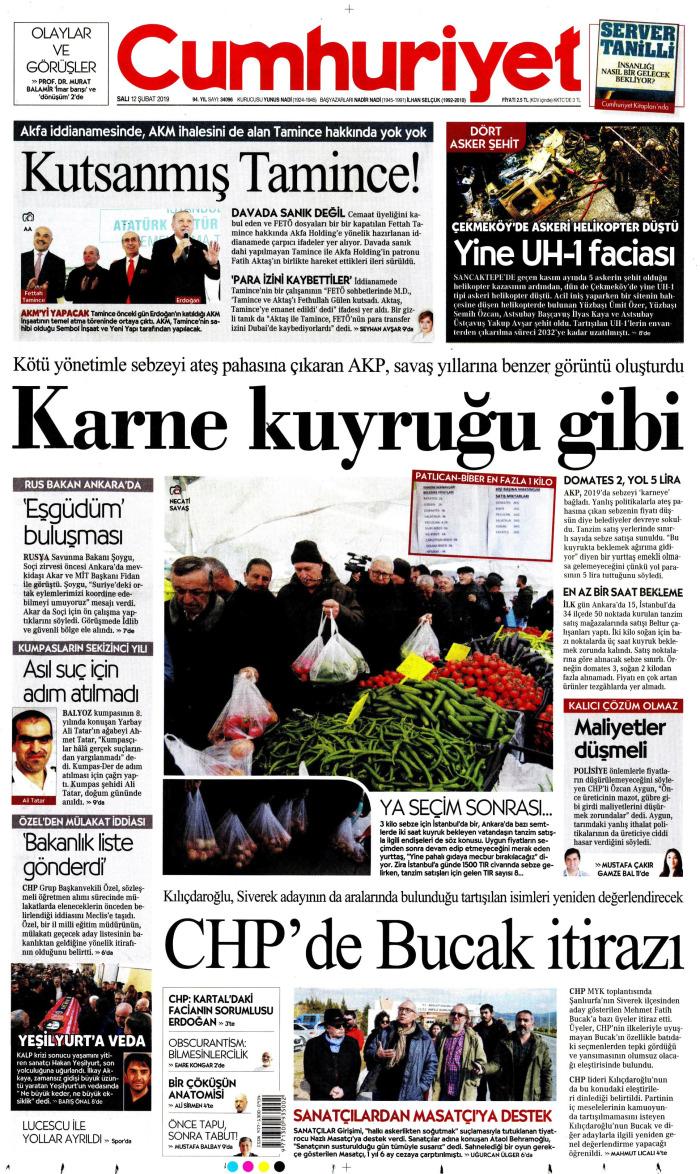 CUMHURİYET Gazetesi 12 Şubat 2019, Salı Günü Manşeti