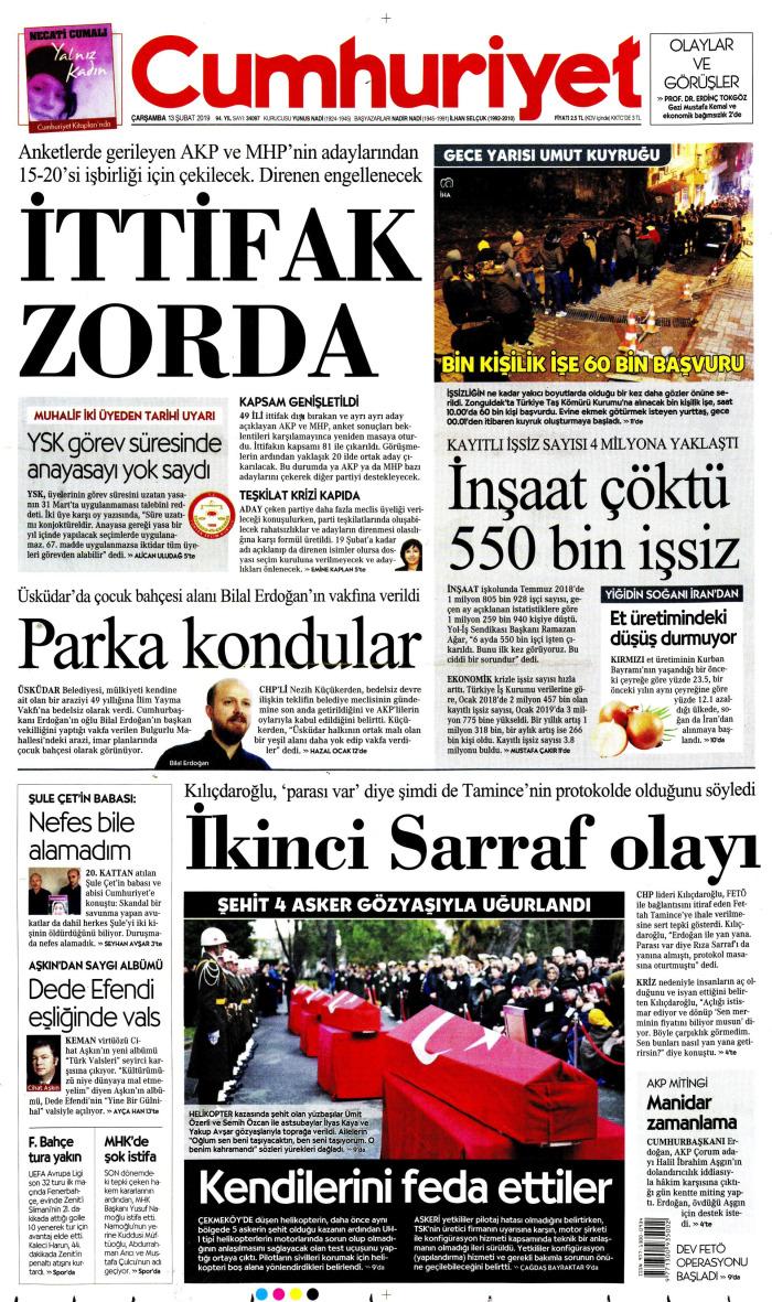 CUMHURİYET Gazetesi 13 Şubat 2019, Çarşamba Günü Manşeti