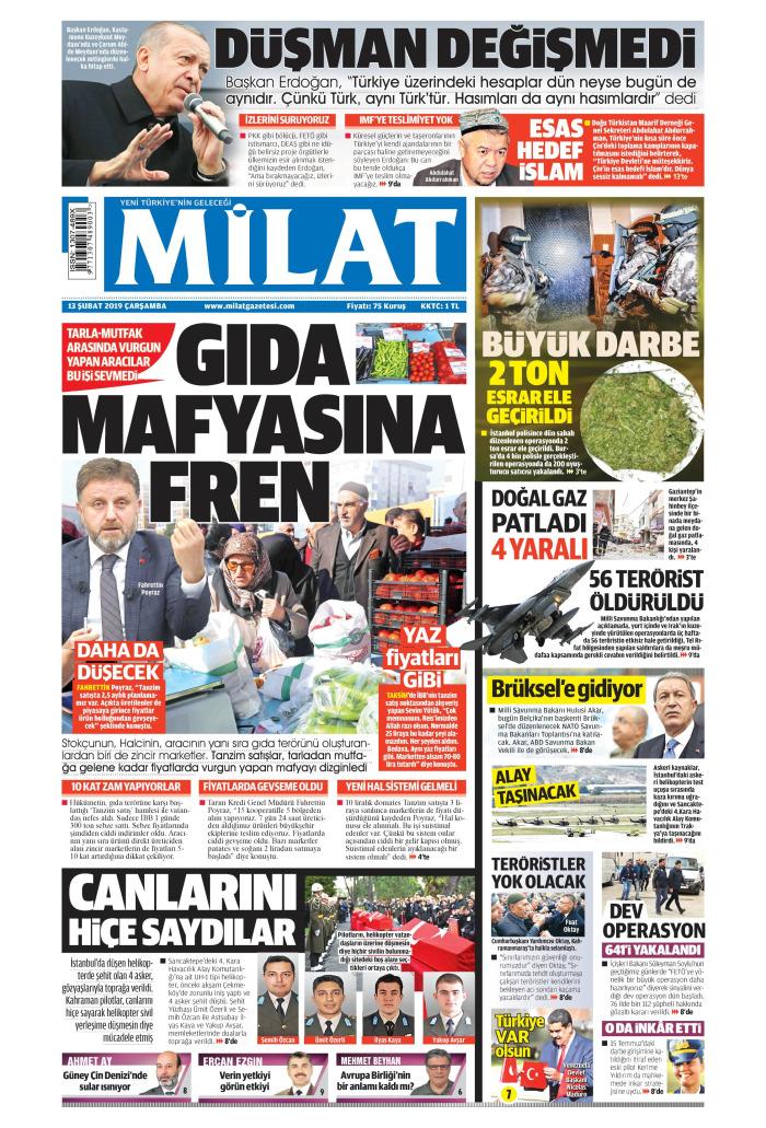 MİLAT Gazetesi 13 Şubat 2019, Çarşamba Günü Manşeti