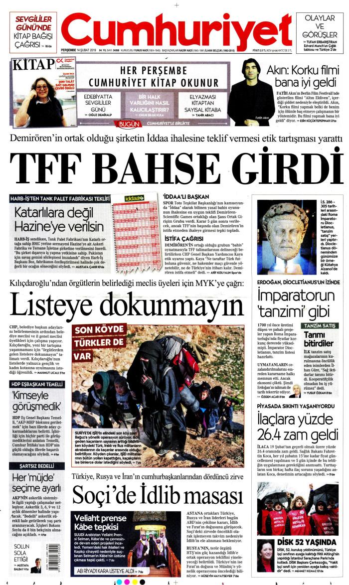 CUMHURİYET Gazetesi 14 Şubat 2019, Perşembe Günü Manşeti