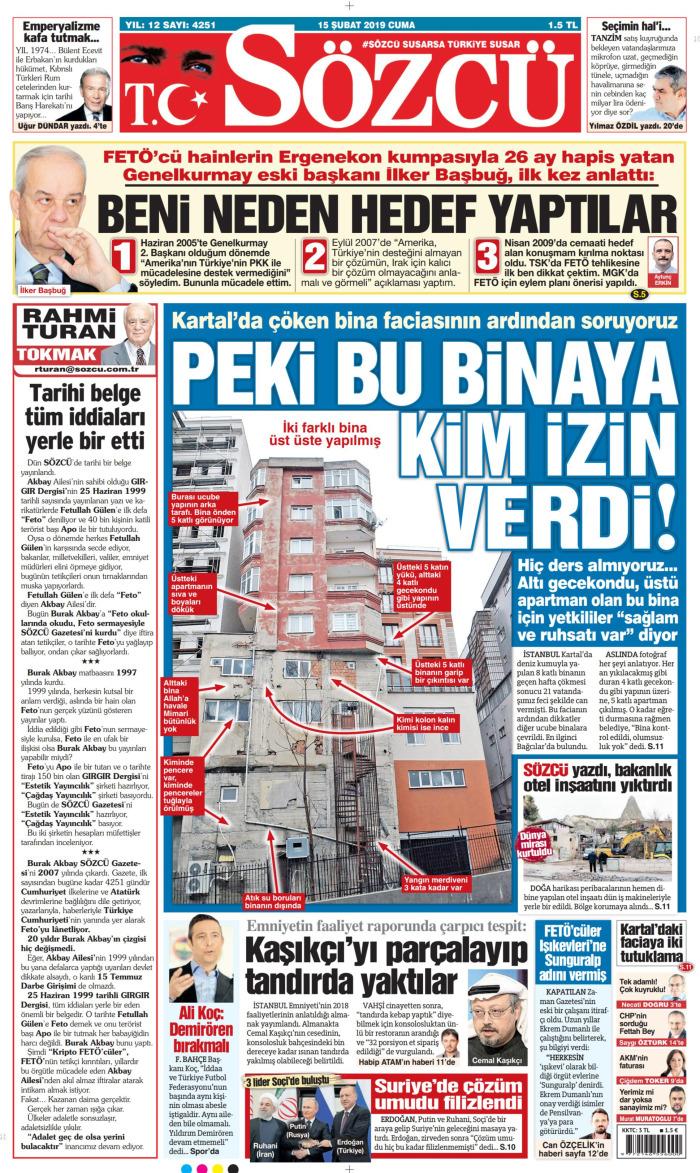 SÖZCÜ Gazetesi 15 Şubat 2019, Cuma Günü Manşeti