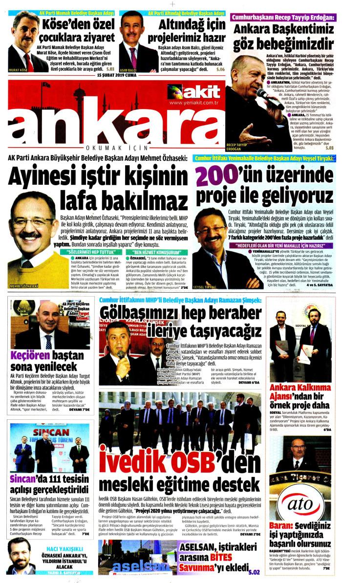 YENİ AKİT EK Gazetesi 15 Şubat 2019, Cuma Günü Manşeti