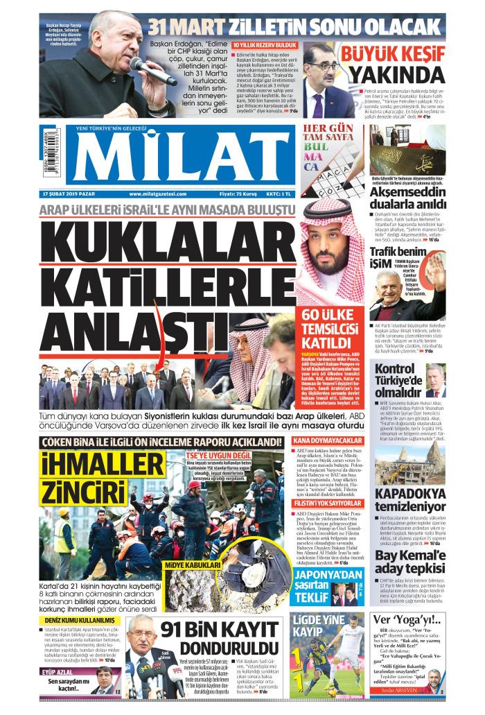 MİLAT Gazetesi 17 Şubat 2019, Pazar Günü Manşeti