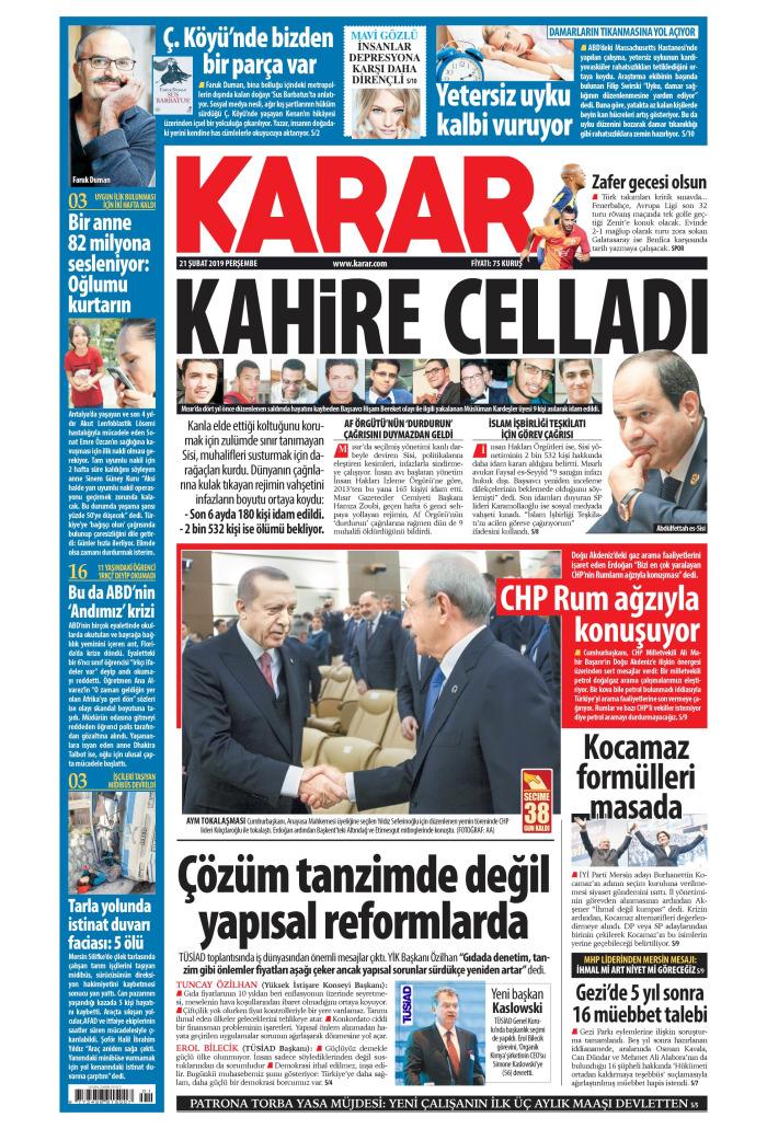 KARAR Gazetesi 21 Şubat 2019, Perşembe Günü Manşeti