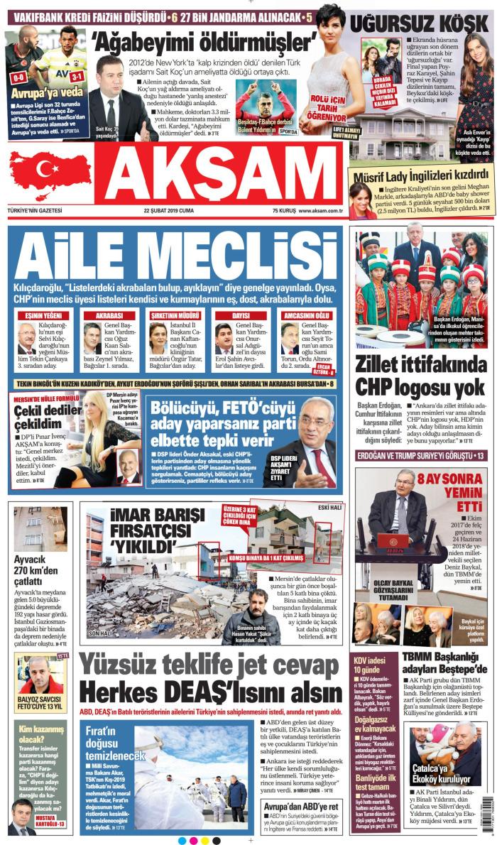 AKŞAM Gazetesi 22 Şubat 2019, Cuma Günü Manşeti